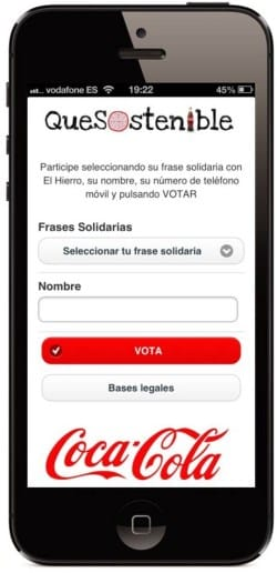Promoción web móvil coca cola